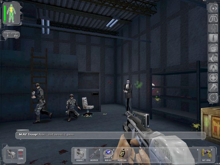 Confrontaties konden in 'Deus Ex' met geweld worden aangegaan, maar ook gewoon worden vermeden. Of, in sommige gevallen, beperkte het zich tot een verbale interactie. Beeld Square Enix
