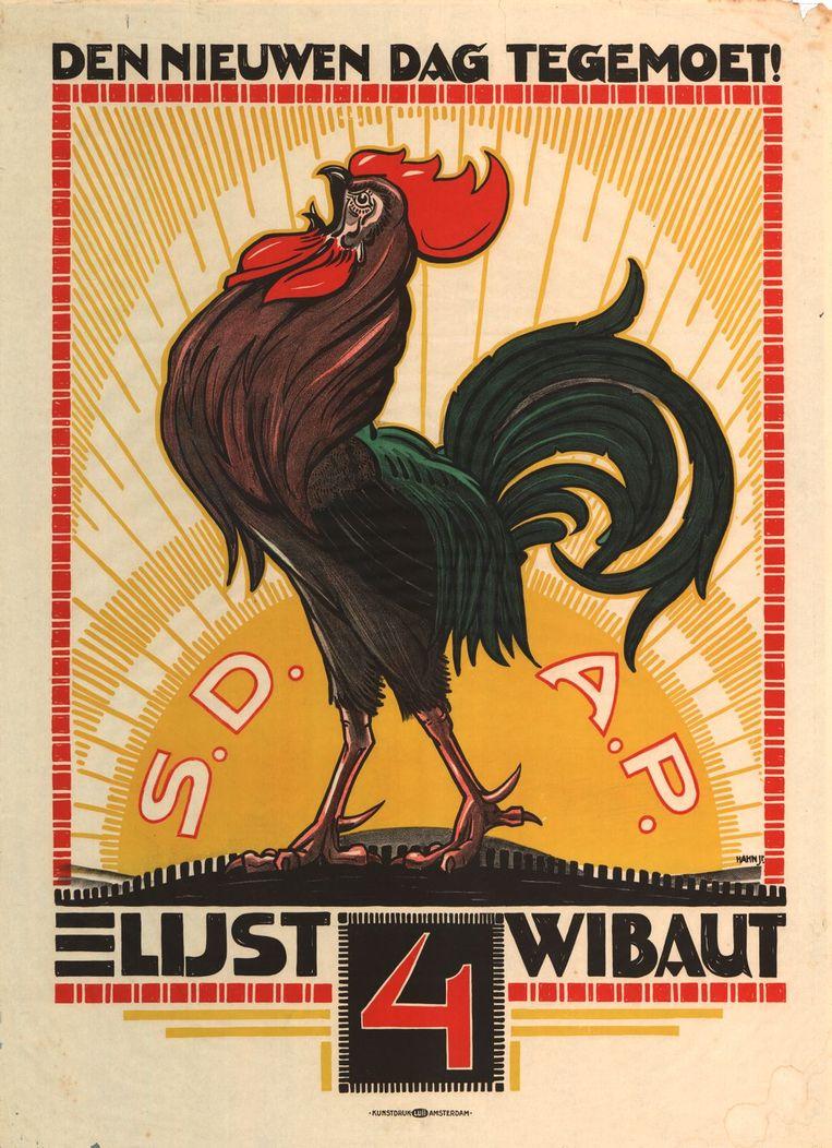 'Den nieuwen dag tegemoet!' – verkiezingsaffiche van de SDAP uit 1921. Beeld IISG