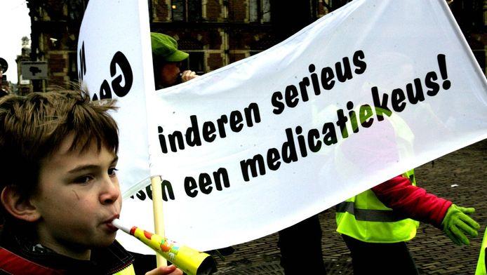 Demonstratie kinderen met ADHD op het Plein in Den Haag. Archieffoto