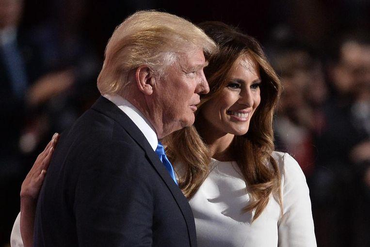 Donald Trump en zijn vrouw Melania in de Quicken Loans Arena in Cleveland, Ohio. Beeld anp