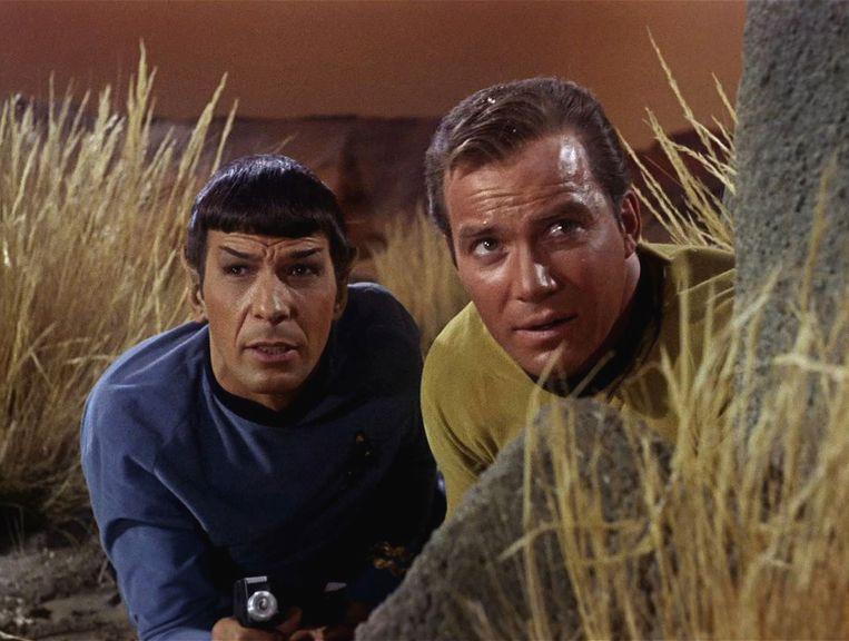 De denkbeeldige relatie tussen officier Spock en kapitein Kirk uit 'Star Trek' werd al in de jaren 70 uitgediept in fanzines.  Beeld Getty Images