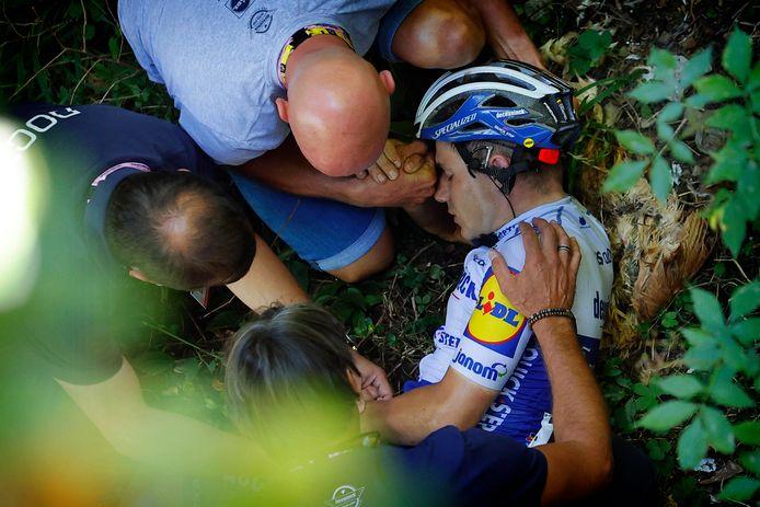 Remco Evenepoel viel zwaar in de Ronde van Lombardije.