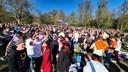 Een feestvierende meute in Park Sonsbeek in Arnhem op Koningsdag.