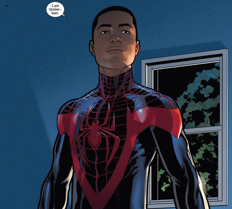 Deze maand heeft Marvel een nieuwe comic uitgebracht van een zwarte Spider-Man met Hispanic wortels. Miles Morales is zijn naam. Morales verscheen ook al in eerdere comics, maar in Spider-Man #1 is hij officieel dé Spider-Man, waar dat eerder Peter Parker was. Beeld Marvel