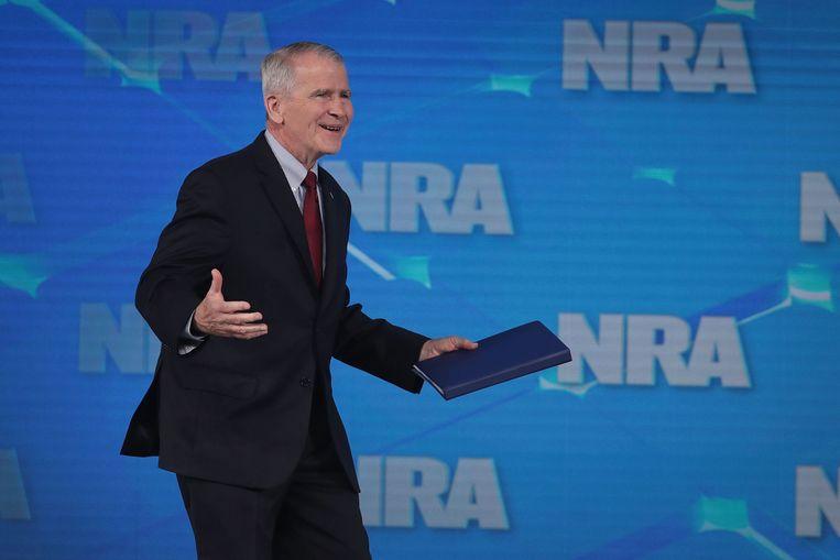 NRA-voorzitter Oliver North tijdens een bijeenkomst van de NRA op 25 april, 2019. Beeld AFP