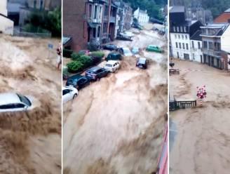 Hallucinante beelden tonen hoe auto's worden meegesleurd door stroming in Dinant