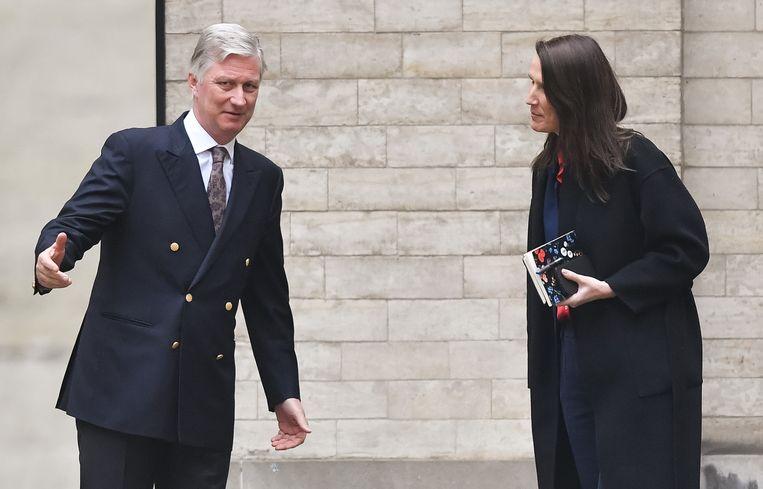 Sophie Wilmès (MR) bij haar aanstelling tot formateur door koning Filip in maart. Beeld BELGA
