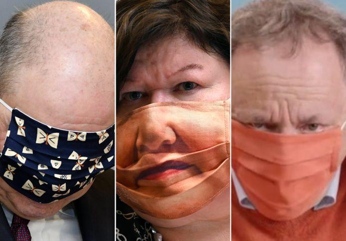 Ondanks dat Marc Van Ranst (rechts) ons leerde hoe we mondmaskers moesten dragen, was het soms even zoeken. Links: minister Koen Geens raakt danig in de knoei met een maskertje. Midden: minister De Block bezorgde fotografen de beelden van hun leven met haar opvallende masker.