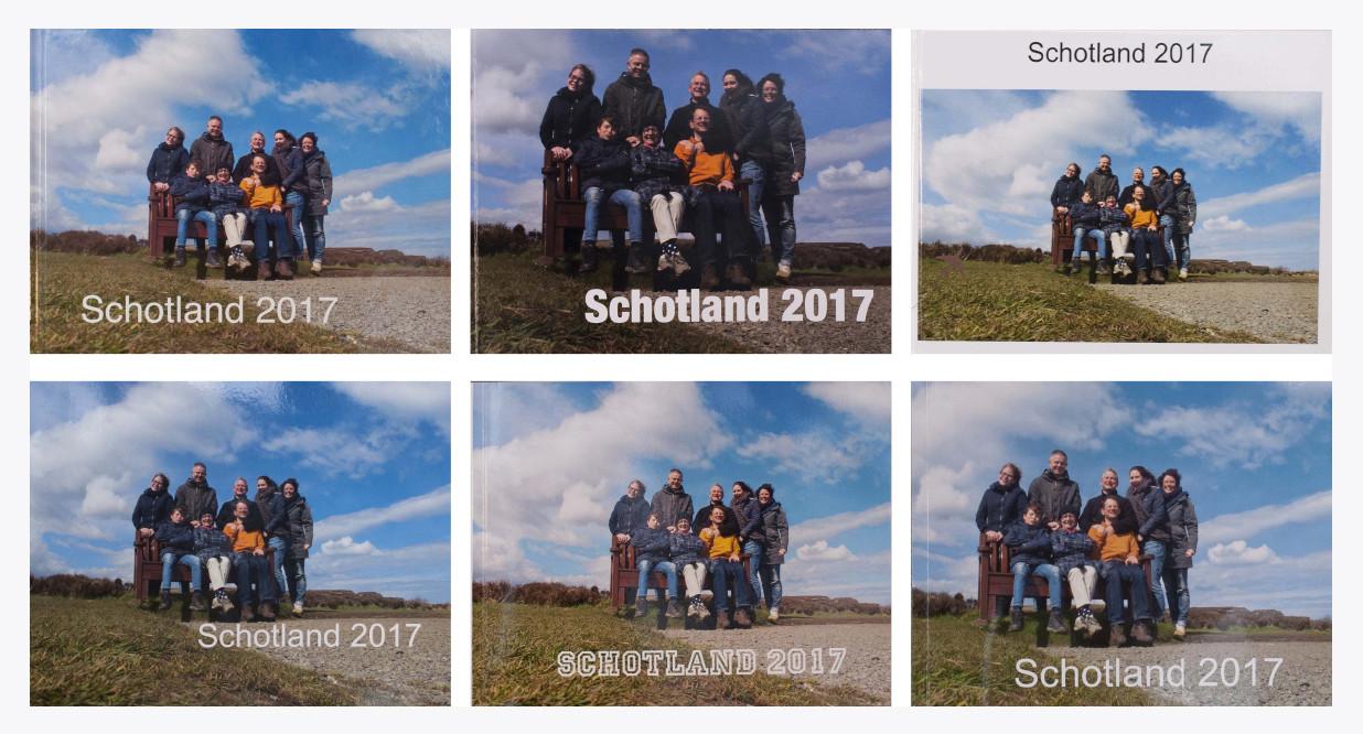 De zes fotoboekjes. Van links naar rechts, boven naar onder: Pixum, Apple, Hema, Fotofabriek.nl, Albert Heijn, Albelli.
