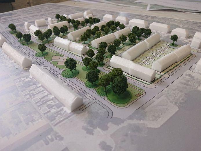Een maquette van de nieuwe wijk in de Haarwijk. Woningcorporatie Poort6 krijgt bijna vier ton subsidie van de provincie voor de bouw.