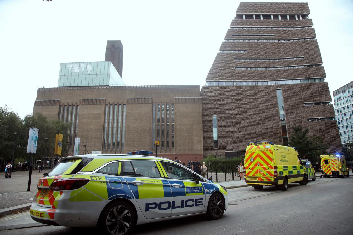 Ambulance en politiewagens voor het Tate Modern na de val van het jongetje.