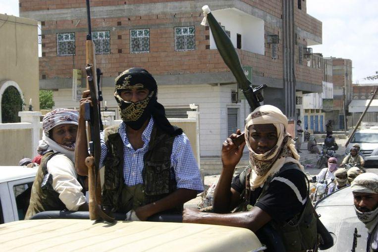 Strijders van Anshar al-Sharia, een Jemenitische tak van al-Qaeda Beeld REUTERS