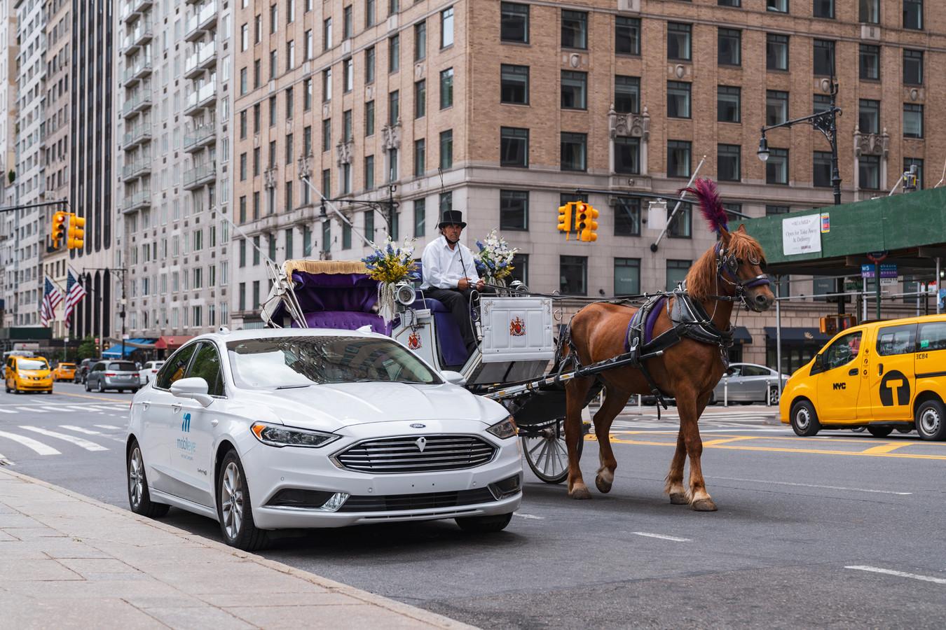 Paardentrams, taxi's, voetgangers en ongeduldige automobilisten: New York is een uitdagende plek voor een zelfrijdende auto.