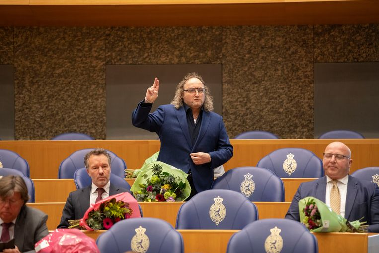 Dion Graus wordt geïnstalleerd in de Tweede Kamer, 31 maart 2021. Beeld Werry Crone