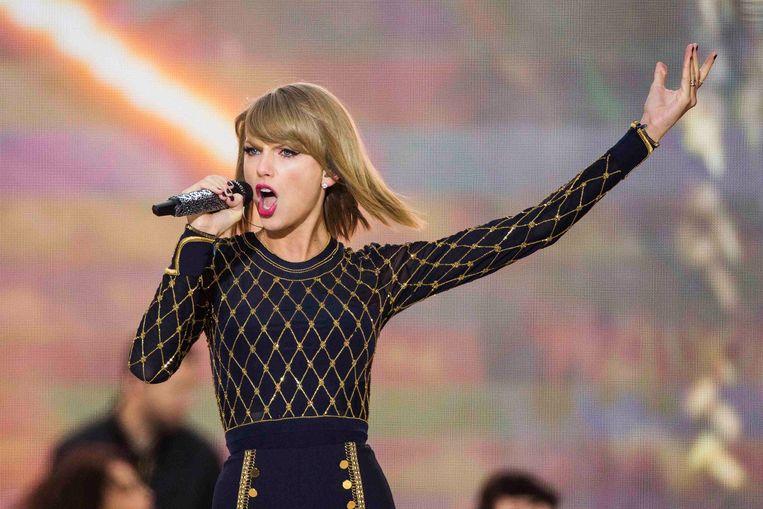 Taylor Swift, hier in actie in New York, was de laatste popster die haar muziek van Spotify haalde. Beeld REUTERS