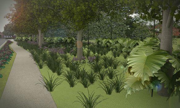 Dit simulatiebeeldje moet een idee geven van de nieuwe parkzone.