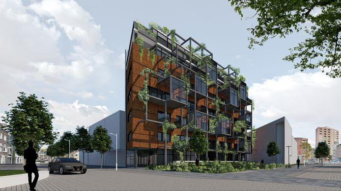 Impressie van hoe 't Cour in Helmond eruit gaat zien als het een appartementencomplex wordt.