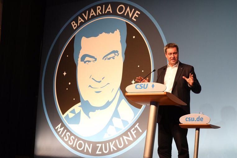 De Beierse minister-president Markus Söder presenteert grootste plannen voor een ruimtevaartprogramma. Beeld Twitter/Markus Söder
