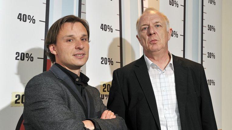 Bruno Vanobbergen en Jos Geysels bij de voorstelling van de armoedebarometer. Beeld PHOTO_NEWS