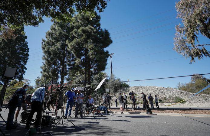 Media samen aan de plek van het ongeval.