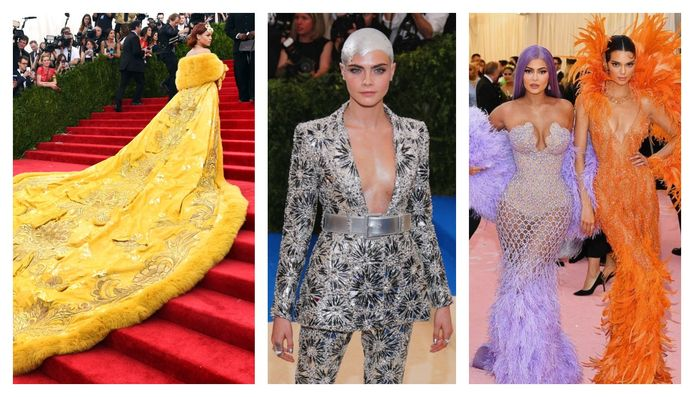 Rihanna in Guo Pei Couture in 2015, Cara Delevingne in Chanel Couture in 2017, Kylie en Kendall Jenner in Versace in 2019.