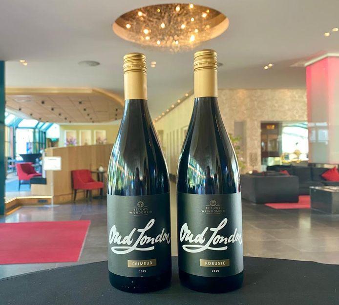 De prijswinnende wijnen van Oud London: op het etiket staan de namen van alle medewerkers die bij de totstandkoming betrokken waren.