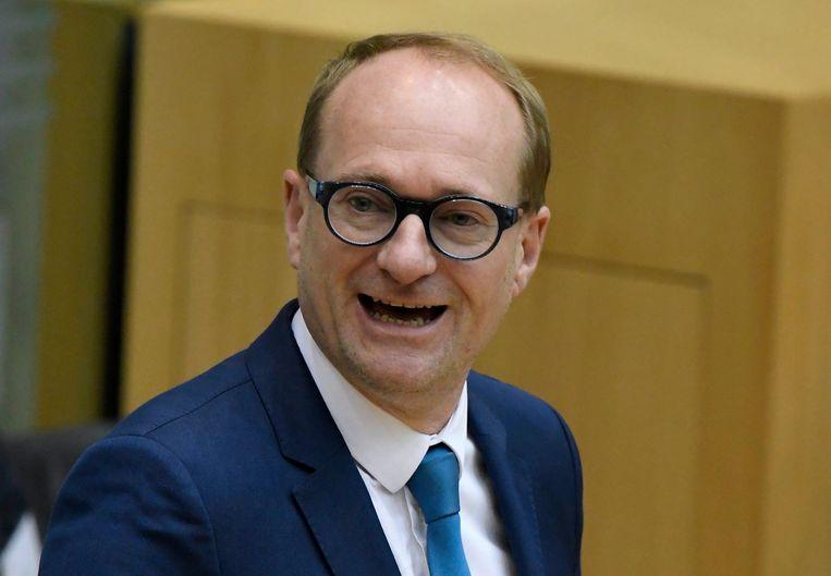 Weyts tijdens het vragenuurtje in het Vlaams Parlement. Beeld Photo News