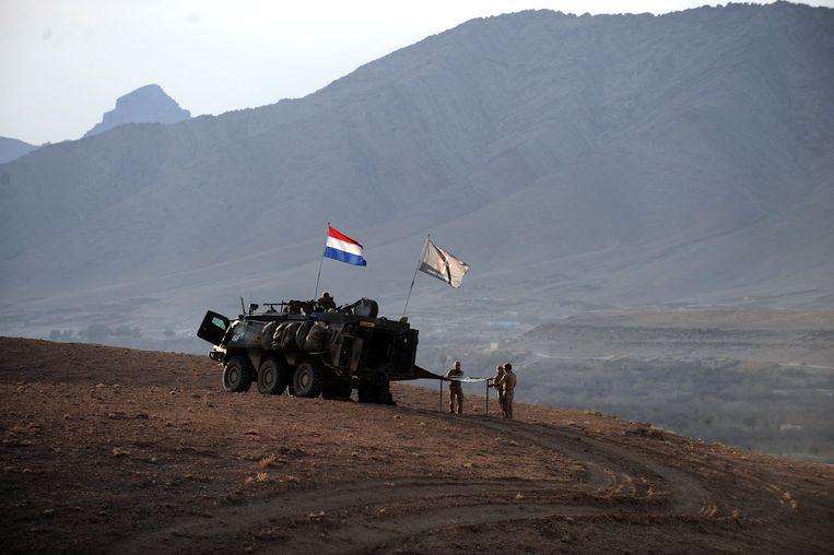 Nederlandse soldaten in de Chora-vallei in Uruzgan, in 2010.  Beeld AFP