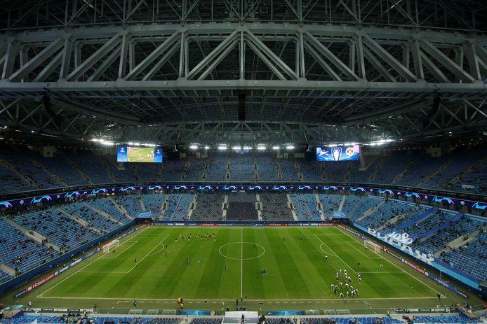 De Gazprom Arena van Zenit in Sint-Petersburg.