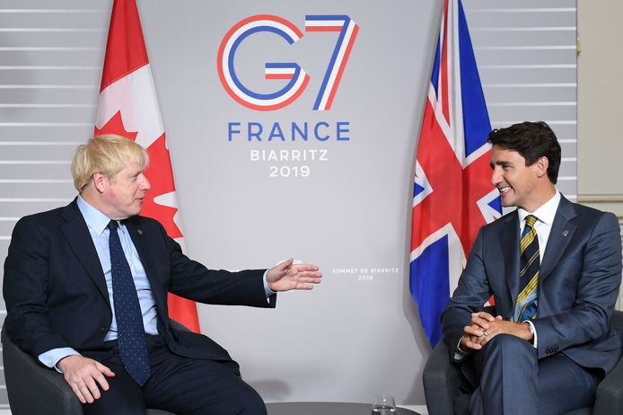 Le Premier ministre britannique Boris Johnson et son homologue canadien Justin Trudeau (archives)