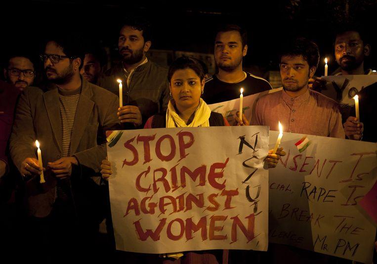 Archiefbeeld van een protest tegen seksueel geweld in India.