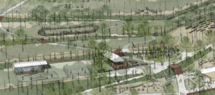 Impressie zone Zuid: Het jeugdhuis krijgt gezelschap van een nieuw en ruimer skate-park en een omni-sportveldje. Ook de pump-track en de overdekte ontmoetingsruimte worden in deze centrale zone voorzien.