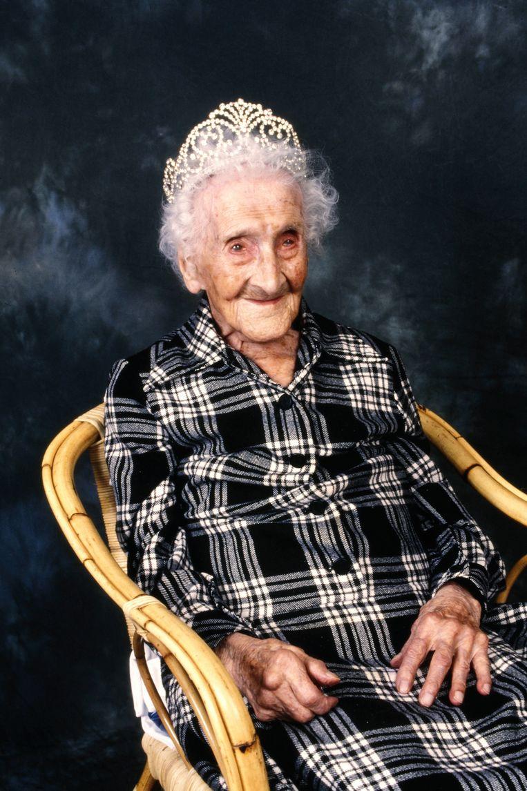 De Française Jeanne Calment overleed op 122-jarige leeftijd, de voorlopige grens van de maximale menselijke levensduur. Beeld Photo News
