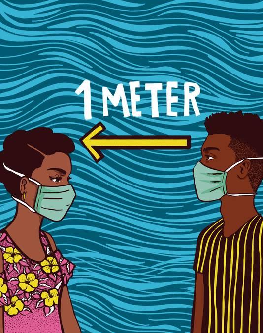 Vlisco-illustratie voor 'Houd afstand van elkaar'