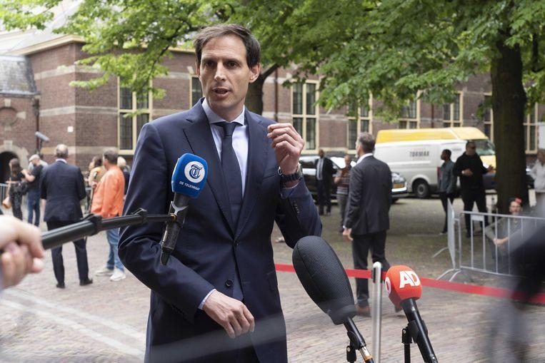 Demissionair minister Wopke Hoekstra (CDA) vrijdag op het Binnenhof voorafgaand aan de wekelijkse ministerraad.  Beeld ANP