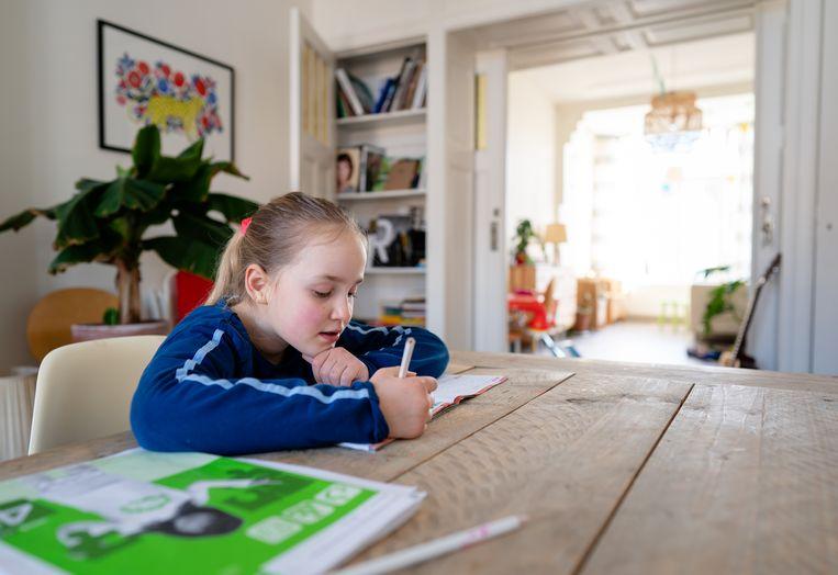Veel scholen stellen een thuiswerkpakket samen of maken gebruik van digitale lesmethodes, nu scholen een aantal weken zijn gesloten door het coronavirus. Beeld ANP