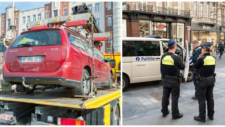 De verdachte auto wordt getakeld. Intussen is er meer politie op de baan in Antwerpen, onder meer op de Meir worden extra manschappen ingezet.