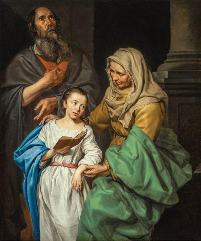 Het schilderij De opvoeding van Maria van de Zuid-Nederlandse schilder Michaelina Wautier.