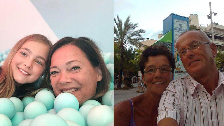 Links: Wendy Laumen met haar dochter, rechts Jan Geert Sterenborg en zijn vrouw op Mallorca. Beeld Trouw