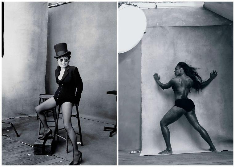 Links: Yoko Ono poseert op 82-jarige leeftijd voor Pirelli. Rechts: Serena Williams leunt met gespreide armen tegen een muur. Beeld Annie Leibovitz/Pirelli