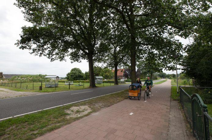 De Neerkantseweg in Liessel. Buurtbewoners zijn naar de rechter gestapt omdat ze niet willen dat hier een paardenhouderij komt.