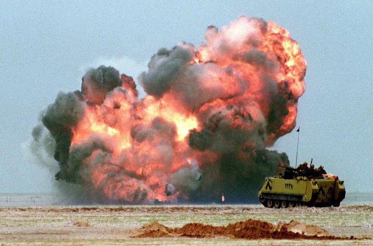 Irak viel tijdens de Eerste Golfoorlog Koeweit binnen vanwege olie. Beeld AFP