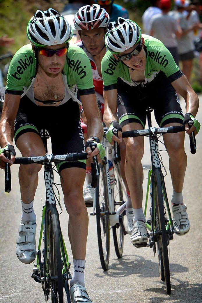 Laurens ten Dam en Bauke Mollema in de Tour de France van 2013.