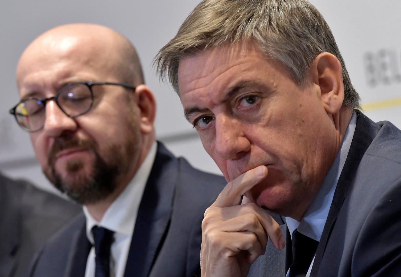 Jan Jambon avec Charles Michel en conférence de presse à l'issue du conseil des ministres, le 23 novembre 2018.