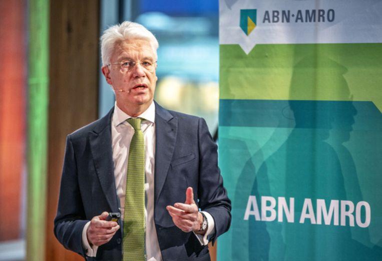 Ceo Kees van Dijkhuizen van ABN Amro tijdens de persconferentie voor de jaarcijfers. Beeld Raymond Rutting