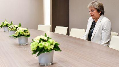 'Eenzame' Theresa May en haar bloempotten mikpunt van spot