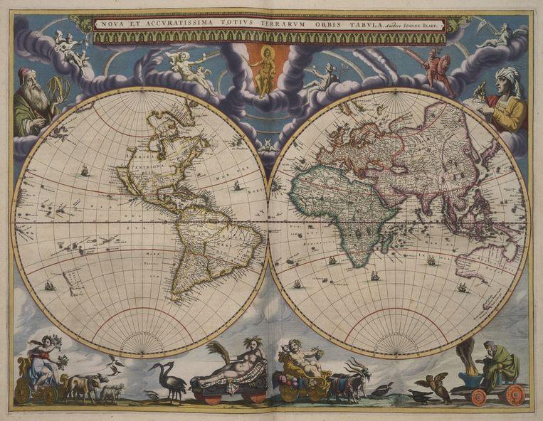 Dubbele bladzijde in de 'Atlas Maior'. Beeld rv