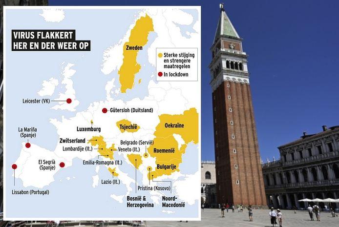 Ook in de Italiaanse regio Veneto flakkert het virus weer op.