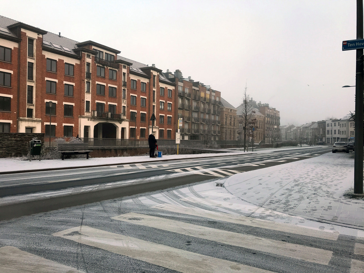 In Leuven viel zaterdagochtend een poederlaagje.