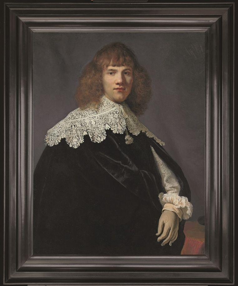 Portret van een jongeman - Rembrandt- met lijst. Beeld Foto René Gerritsen/ Collectie Jan Six
